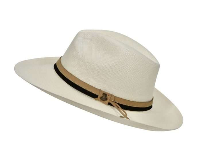 Off-White Panama Hat with Dual Leather Band