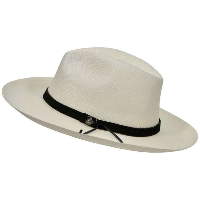 Off-White Panama Hat with Black Leather Band