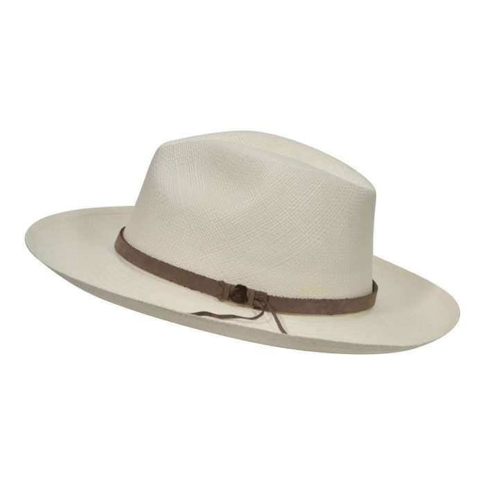 Off-White Panama Hat with Brown Leather Band