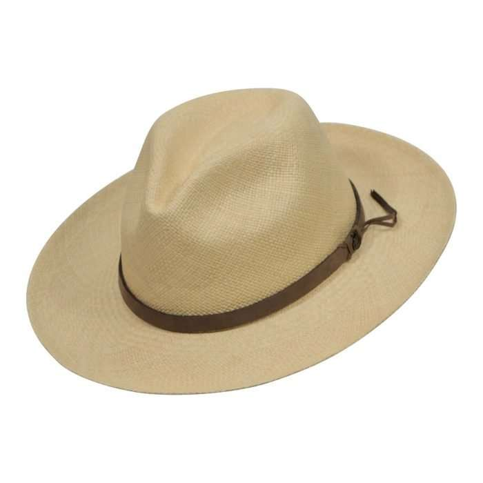 Natural Panama Hats with brown leather band