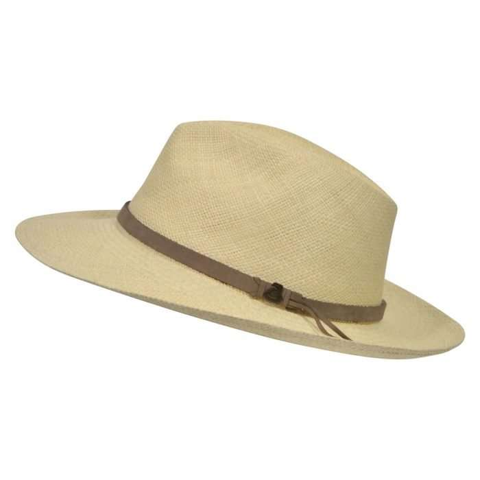 Natural Panama Hat with Brown Leather Band