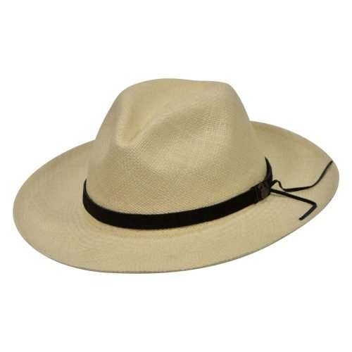 Natural Panama Hats with black leather band