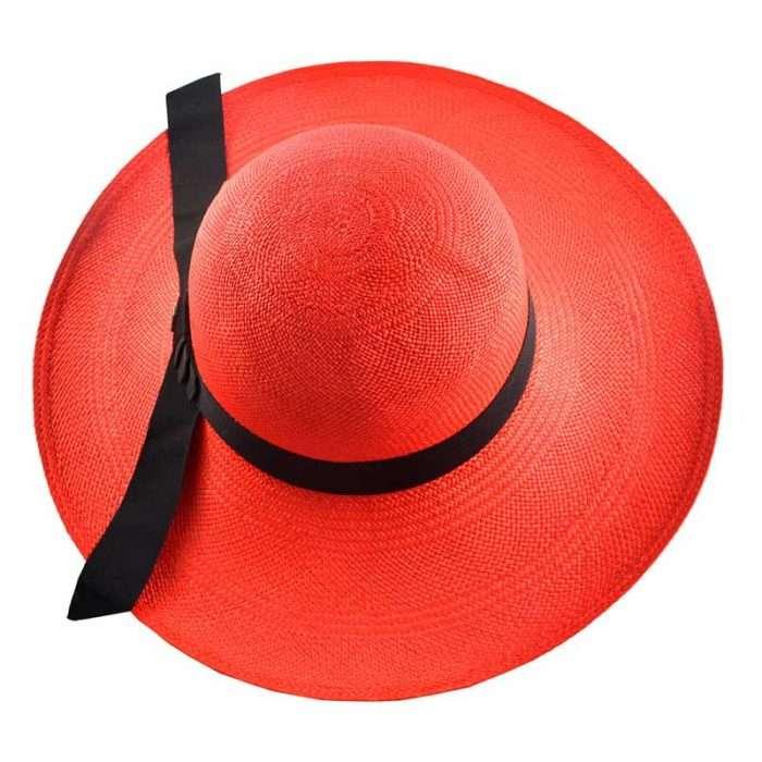 Red Classy Panama Hat Top