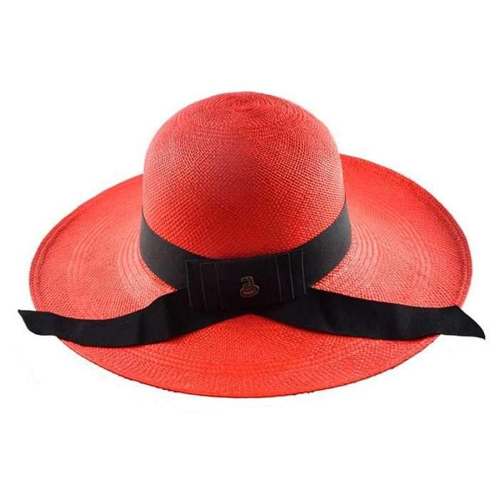 Red Classy Panama Hat Back