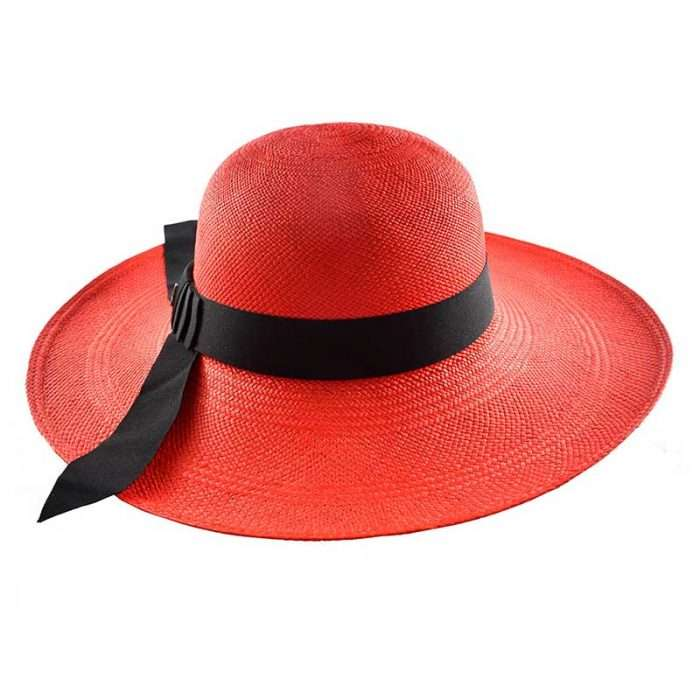 Red Classy Panama Hat Side