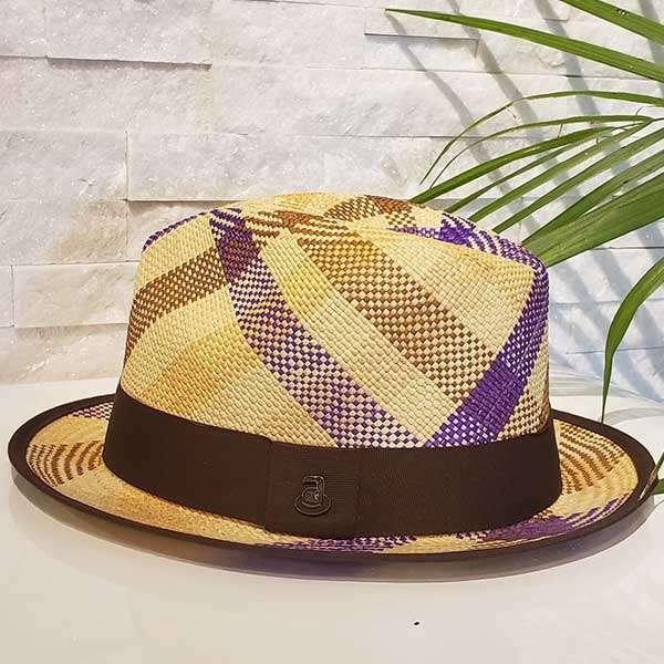 Plaited | Brown, Purple & Natural | Panama Hat