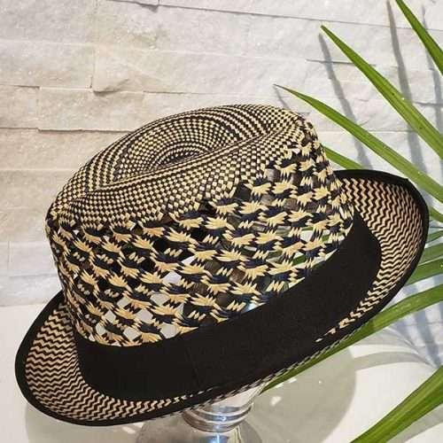 Vented Short | Black & Natural | Panama Hat