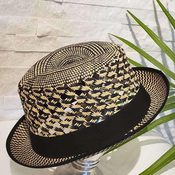 Vented Short   Black & Natural   Panama Hat