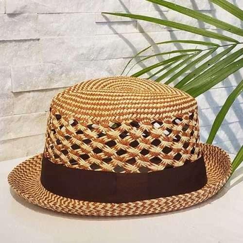 Vented Short | Brown & Natural | Panama Hat