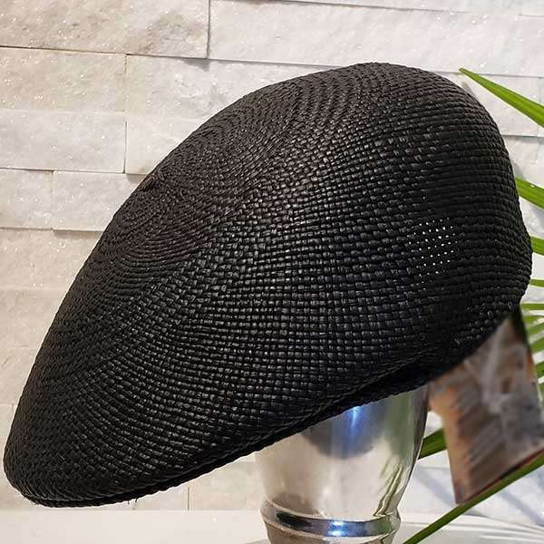 Flat Cap   Black   Panama Hat