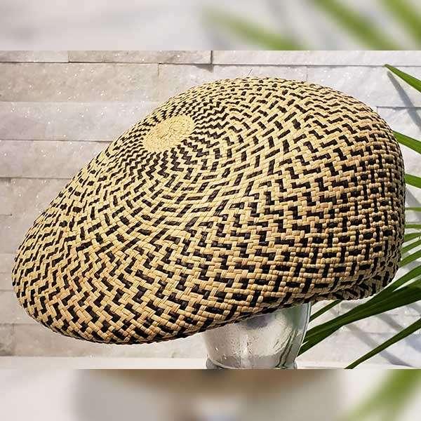 Flat Cap | Black & Natural | Panama Hat