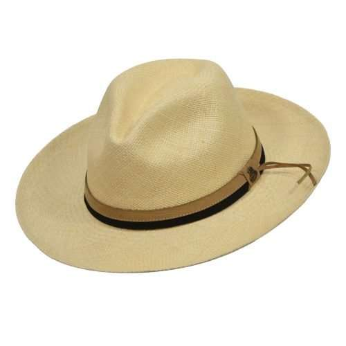 Natural Panama Hats with dual color leather band