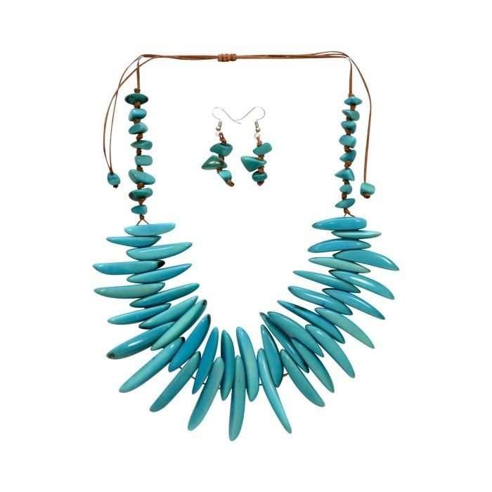 Electric Tide Blue Tagua Jewelry